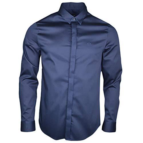 Armani Exchange Herren Smart Stretch Satin Freizeithemd, Blau (Navy 1510), Large (Herstellergröße:L)