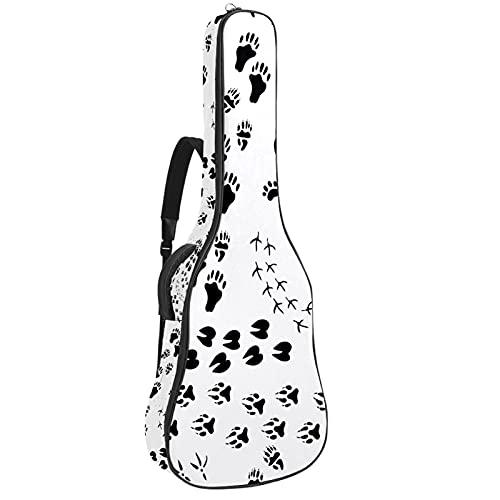 Funda para guitarras acústicas tela Oxford impermeable estilo de moda con bandolera y asa para guitarras clásicas Huella animal y garra 42.9x16.9x4.7 in