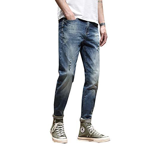 Beastle Pantalones Vaqueros para Hombre Otoño Pantalones Vaqueros Ajustados de Pierna Recta para jóvenes Pantalones Vaqueros Casuales Rasgados 28