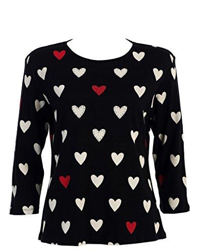 Jess & Jane 'Hearts' Rhinestone Dressy or Casual Tee Shirt, Multicolored, Medium