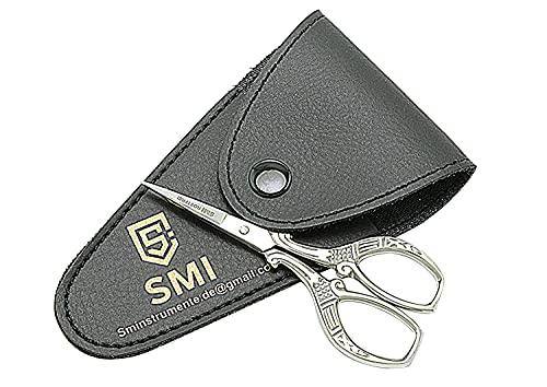 SMI  - 3,7' Tijeras de bordar Tijeras de punto de cruz punta fina para un corte preciso, acero inoxidable de alta calidad