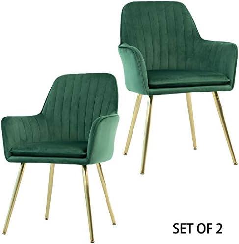 Best GOLDEN BEACH Velvet Dinning Chair Set of 2 Mid-Back Accent Chair Modern Leisure Armchair with Gold P