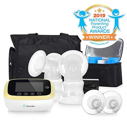 BelleMa Euphoria Pro  Rechargeable Electric Breast Pump Double/Single Patented 3D Pump System Hospital Strength with Black Tote and Cooler