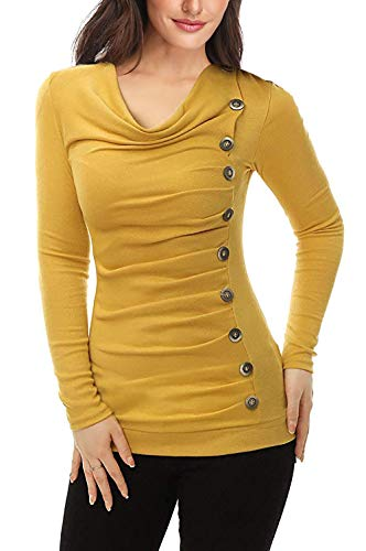 MISS MOLY Damen Langarmshirt Pullover Tunika Bluse T Shirt mit Knöpfen Gelb Medium