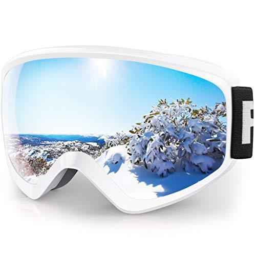 findway Gafas Esqui Niño Mascara Esqui Niño Gafas de Esqui Niño Niña OTG Ajustable para Niños Anti-Niebla Protección UV Compatible con Casco para Esquiar Snowboard (Lente Argentado (VLT 21%))