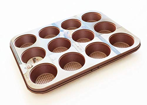 David Burke Kitchen Commerical Weight 12 Cup Muffin Rose Gold Bakeware