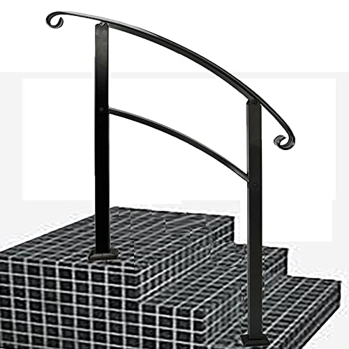 VOTZT Handrails for Outdoor Steps,Fit 1 or 3 Steps Sturdy Stair Handrail,Adjustable Outdoor Stair Railing Handrails for Outdoor Steps with Installation Kit