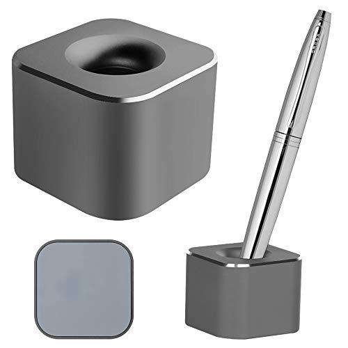 TANCHEN ペン立て ペンスタンド 金属ペン立て 1本用 シンプル 筆立て 筆差し ツールスタンド 事務用 デスク整理整頓 アルミ合金製 受付 (四角グレー)