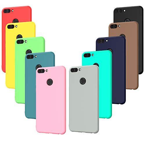ivoler 10 x Funda para Huawei P Smart 2017, Ultra Fina Carcasa Silicona TPU Protector Flexible Funda (Negro, Gris, Azul Oscuro, Azul Cielo, Azul, Verde, Rosa, Rojo, Amarillo, Marrón)