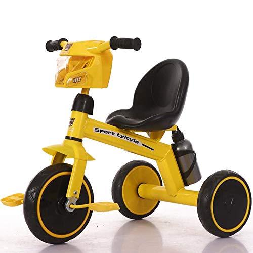 MAGO Kinderspielzeug for Kinder Pedal Dreirad Baby-Dreirad Trolley Kinder Push-Fahrrad (Color : Yellow)