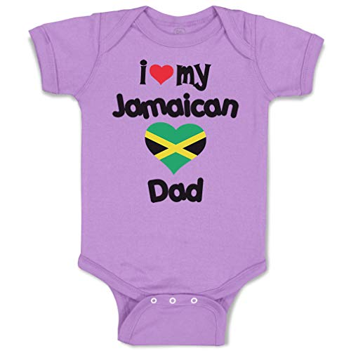 Custom Baby Bodysuit I Love My Jamaican Dad Style A Funny Cotton Boy & Girl Baby Clothes Lavender Design Only Newborn