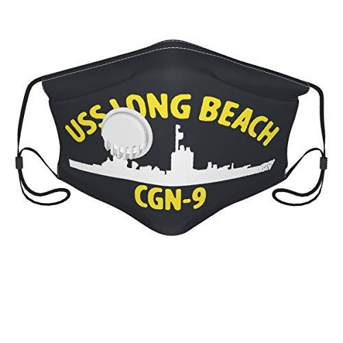 USS Long Beach CGN-9 Unisex Verstellbare Kopfbedeckung Nasendraht Wiederverwendbare Waschbar Atemventil Mund Gesichtsabdeckung für Anti-Beschlag Staubdicht