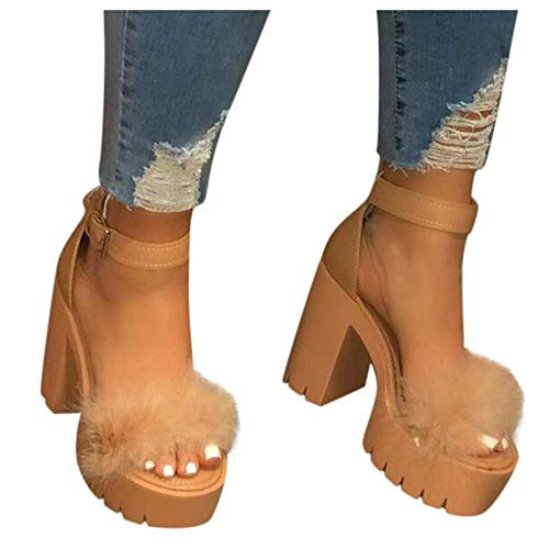 ZBYY Women's Summer Shoes Chunky Heel Sandals Ankle Strap Open Toe Fluffy Feather Dressy High Heeled Platform Dress Shoes Brown