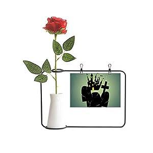 Beauty Gift Cemetery Outside Castle Halloween Artificial Rose Flower Hanging Vases Decoration Bottle