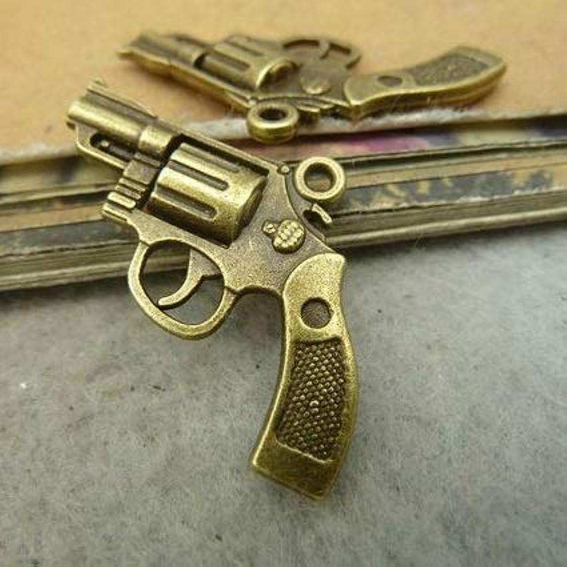 6 Bronze Gun Charms Silver Tone Pistol Hand Gun Charms 29x22mm (CB204) cnvnpfo128282
