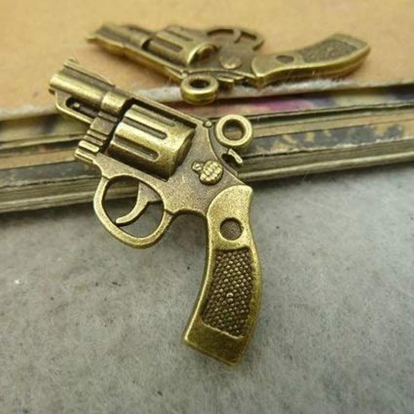 6 Bronze Gun Charms Silver Tone Pistol Hand Gun Charms 29x22mm (CB204)