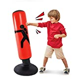 Inflatable Kids Punching Bags with Stand, 64 Inch Freestanding Punching Bag for Kids and Adults, Kids Kickboxing Bop Bag Immediate Bounce-Back for Karate, Taekwondo, MMA (Red) (Red) (Red)