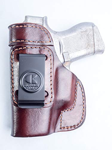 OUTBAGS LOB2S-G43 (BROWN-RIGHT) Genuine Leather IWB Conceal Carry Gun Holster for Glock 43 G43...