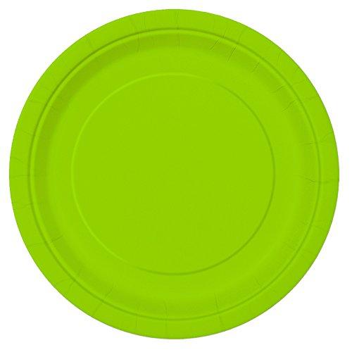 Unique Party- Paquete de 20 platos de papel, Color verde neón, 18 cm (99144)
