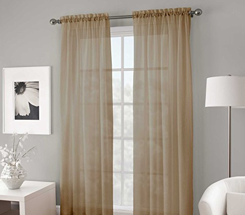 Gorgeous Home 2 Piece Taupe Sand Tan Solid Soft Voile Sheer Window Curtain Panels Drapes 54 X 84 - Inch