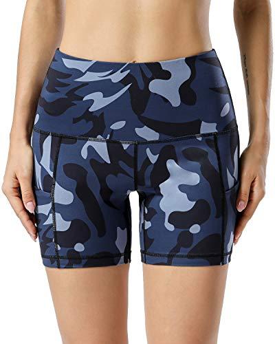 AUU Damen Hohe Taille Biker Workout Yoga Laufen Kompression Übung Shorts mit Seitentaschen Camouflage - Blau - Mittel