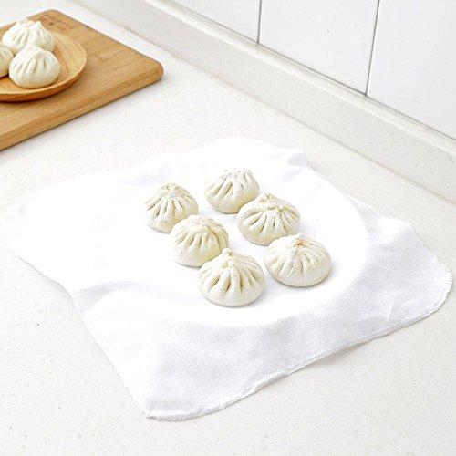 DayCount Baozi-Tuch, lebensmittelecht, 100 % Baumwolle, Dampfgarer, zum Backen von Brot, Teigtaschen, 32 cm, 5 Stück