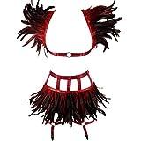 BBOHSS Conjunto de Sujetador de arnés de Cuerpo de Plumas para Mujer, cinturón gótico Completo, Jaula de Cintura elástica, Punk, Carnaval, Accesorios para Disfraces de Halloween (Vino Rojo)