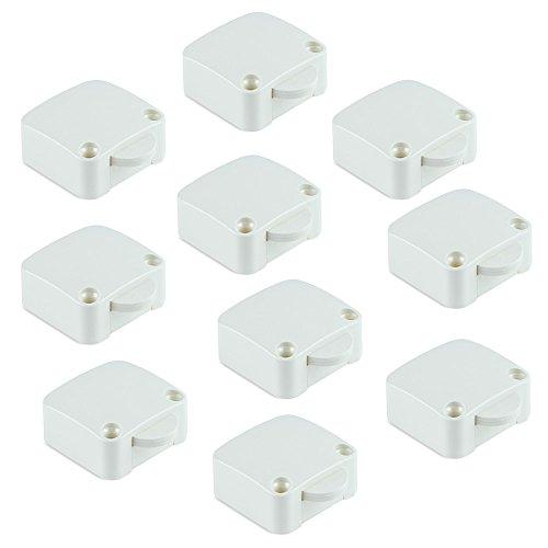 Emuca - Interruptor de contacto para puerta de mueble 2 posiciones ON-OFF, Blanco, Set de 10 piezas