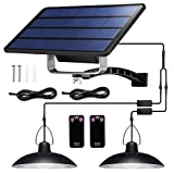 Solar Lights Outdoor, IP65 Waterproof Solar Lights with 32 LED Lights and 2 Remote Control, Easy-to-Install Solar Outdoor Lights with 19.68FT/6M Extension Cord, for Sheds, Yards, Garden, Indoors