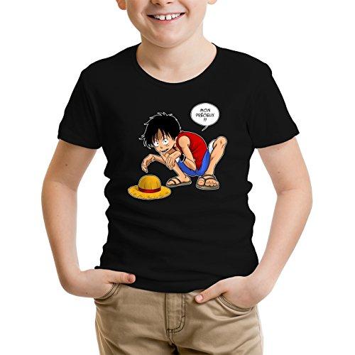 T-Shirt Enfant Garçon Noir Parodie One Piece et Seigneur des an. - Luffy et Gollum - Mon Précieux ! (T-Shirt Enfant de qualité Premium de Taille 7-8 Ans - imprimé en France)