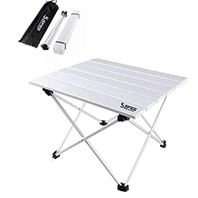 Sfee Folding Camping Table - Portable Ultralight Aluminum Camp Table Lightweight Compact Roll Up Picnic Table for Picnic Outdoor Hiking BBQ Camping Kitchen Fishing Beach with Carry Bag (Silver)