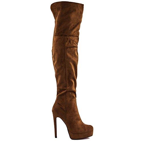 Toocool - Botas de Material Sintético para Mujer marrón Size: 41