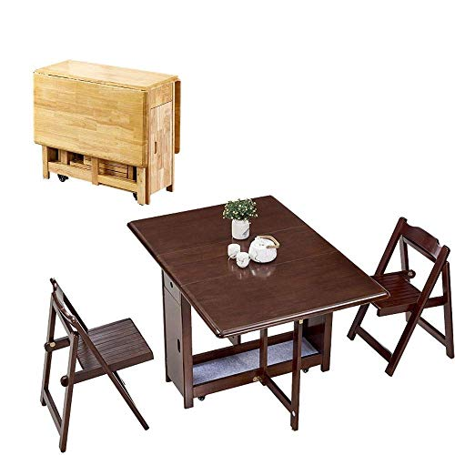 N/Z Daily Equipment 1.3M Dining Table 2 Chairs Set Folding Drop Leaf Butterfly Solid Wooden Kitchen Furniture Natural Pine (Color : Wood Color)