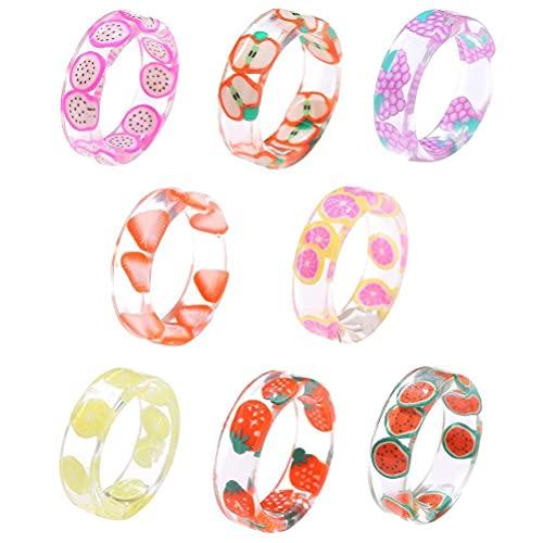 xiaowang Juego de 8 anillos de resina de verano, coloridos nudillos transparentes, anillos de plástico divertidos, regalo para mujeres, adolescentes, niñas