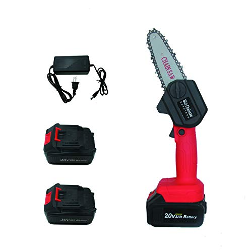 B/H Mini Chainsaw 4-Inch Cordless Electric Protable Chain Saw Pruning Shears Chainsaw for Tree Branch Wood Cutting One-Hand Light Weight w/ 2 PCS of 3000 MAh Batteries
