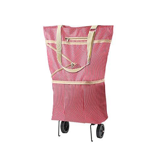 MOXIN Leichte Einkaufstrolley Klappbar Foldable Einkaufstasche Mini Einkaufstrolley Zufällige Farbe, Treppensteiger Stabiler Einkaufswagen,Rosa