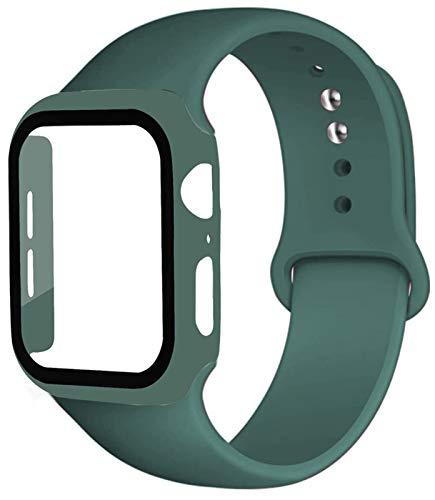 ZAALFC Caja de la Correa + Vidrio + for la Banda de Reloj de Apple iWatch Banda de 40 mm 44 mm 42 mm 38 mm de Silicona Tope + Pulsera de Reloj de la Manzana 5 4 3 2 1 38 42