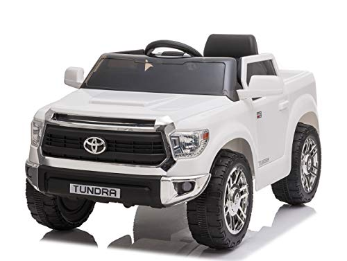 Rock Wheels Licensed Toyota Tundra Ride-On Truck Car, 12V Battery Powered Electric 4 Wheels Kids Toys w/ Remote Control, Foot Pedal, Music, Aux, LED Headlights, 2 Speeds (White)