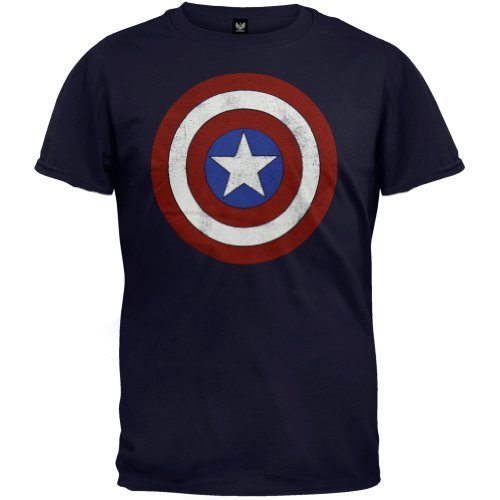 Marvel Captain America   Distressed Shield T Shirt Size L, Distressed Blue