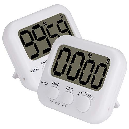 stonylab Timer Digitale, 2-Confezione Base Alta Decibel Forte Allarme Timer Conto alla Rovescia Timer Digitale Digital Timer Timer da Cucina Timer Eventi con Dorso Magnetico e Cifre Grandi