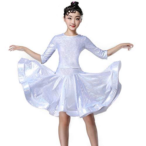 NI. Ropa de Danza de Gama Alta de los niños de Baile Latino Competencia Vestido Vestir de Las niñas Reglamento de Clasificación Vestuario de ensayo Negro Piscina para niños,Silverb,140cm