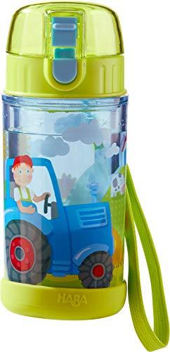 HABA 302846 - Glitzertrinkflasche Traktor, Kinder-Trinkflasche für Traktor-Fans, für Kindergarten oder Schule, 250ml Flasche, BPA-frei, spülmaschinenfest, auslaufsicher mit Drehverschluss