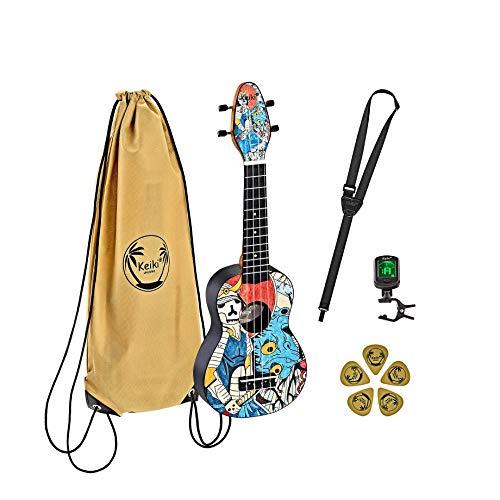 Ortega Guitars Sopran Ukulele - Keiki K2 designt mit Samuraimotiv - Starterkit inklusive Tuner, 5 Medium Plektren & Kordelzugtasche mit Keiki-Logo - Kauriholz (K2-SR)