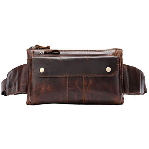 Xieben Vintage Fanny Pack De Cuero para Los Hombres Bolso De La Cadera Bolso De La Cadera Teléfono Bum Cinturón Messenger Hombro Sling Bolsas De Pecho Brown