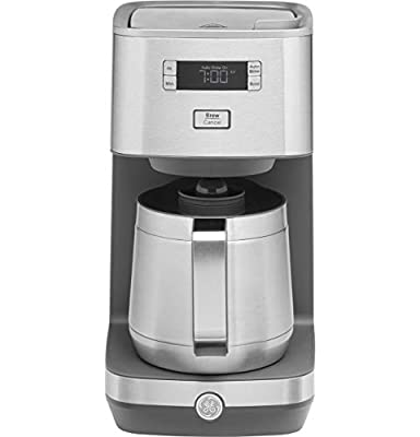 GE Drip Coffee Maker with 10-Cup Thermal Carafe, Programmable with Delayed Start & Timer Settings, Clutter-Free Hidden Cord Storage, Stainless Steel, G7CDABSSPSS