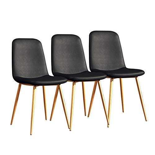 LSRRYD set met 3 moderne eetkamerstoelen, keukenstoelen, gevoerde zitting, comfortabele zitting, PU-leer, met poten van metaal, robuust, bureaustoel, barkruk Zwart