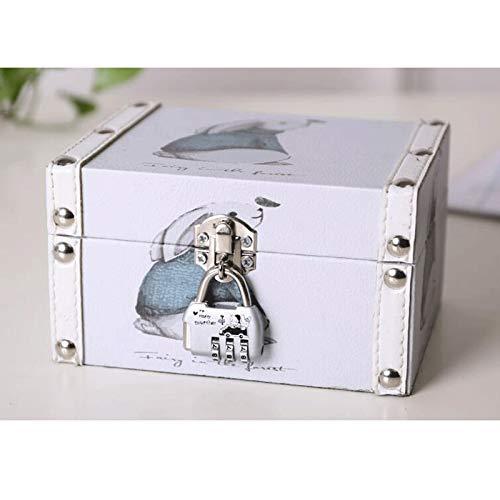 TXOZ -Q Vintage Joyero Caja de almacenamiento de cuero con cerradura de metal, necesidad diaria, adecuado para pendientes, collar, anillo y pulsera caja de regalo (color: B)