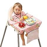 PewinGo Bavoir Bebe, se Fixe à Votre Chaise Haute, Bavoirs pour Bébé avec Manches Imperméables, Confortables et Doux pour BLW Mess-6 mois à 3 ans (Rose)