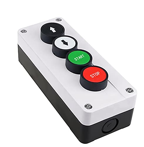 LGFCOK Botón de 22 mm Interruptor Blanco Control de plástico Caja de Interruptor Impermeable 4 Agujero con Flecha Botón de Parada Caja de Control Industrial 165 * 68 mm (Color : Yingwen)