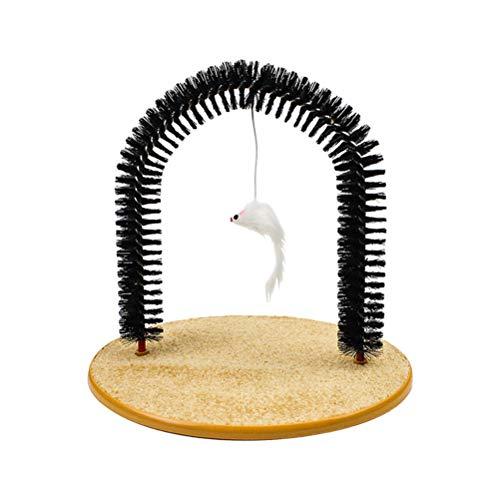 Lespar Enthaarungsbogen, Cat Arch Massage- und Fellpflegebogen - Spielzeug und Kratzteppich für Katzen - Massagebogen mit Spielzeug Mäuschen